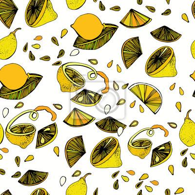 Jednolite wzór z jasnym kolorowym wizerunkiem limonki na białym