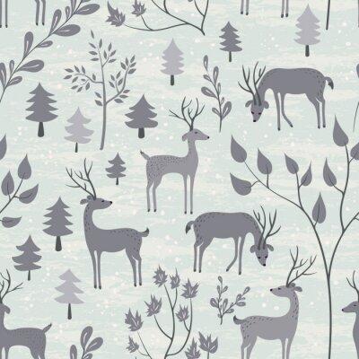 Naklejka Jednolite wzór z jelenia w lesie zima