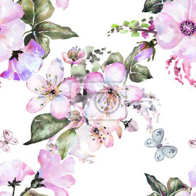 Jednolite wzór z kwiatów, akwarela kwiatowy wzór, kwiat róża i sakura w pastelowym kolorze, bez szwu kwiatu wzorzec dla tapety, karty lub tkaniny, wzór z kwitnących kwiatów i motyli