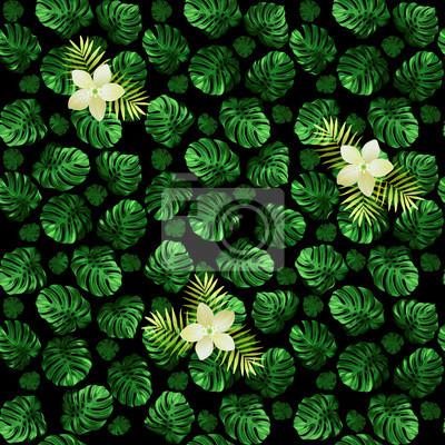 Jednolite wzór z liści monstera i egzotycznych kwiatów. Ciemnozielone tło z kwiatów światła.