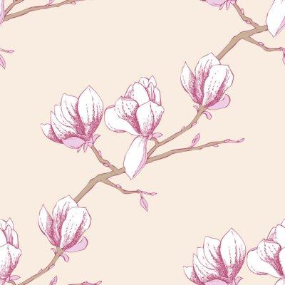 Naklejka Jednolite wzór z magnolia_3-03