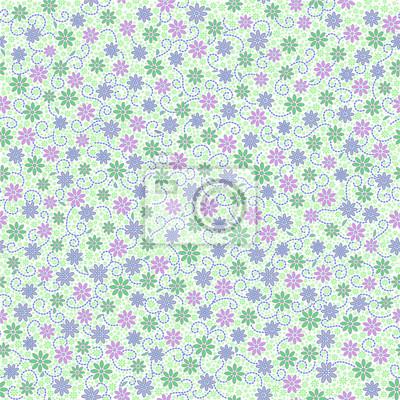 Jednolite wzór z małych delikatnych Daisy kwiaty w różowy, zielony, światła fioletowego koloru na białym tle. Może być stosowany do tapety, tkaniny, papier pakowy.