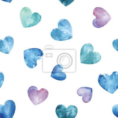 Jednolite wzór z niebieskim sercem akwarelowych. wzór tła.