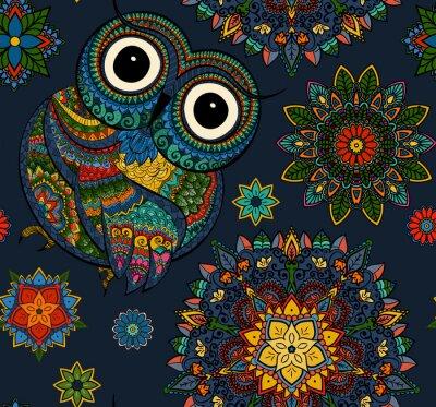 Naklejka Jednolite wzór z ozdobnymi kolorów Sowa z kwiatami i mandali. Afrykańskie, indyjskie, totem, wzór tatuażu. Może być stosowany do projektowania t-shirt, torby, pocztówka, plakat i tak dalej.