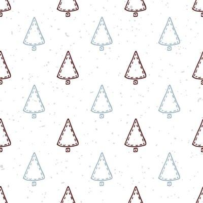 Naklejka Jednolite wzór z ręcznie rysowane choinki. Doodle tło wakacje