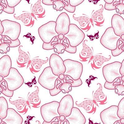 Naklejka Jednolite wzór z różowym przerywaną Orchid ćma lub Phalaenopsis i ozdobnych motyli na białym tle. Floral tło w stylu dotwork.
