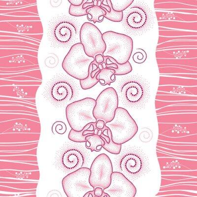 Naklejka Jednolite wzór z różowym przerywaną Orchid ćma lub Phalaenopsis i wiruje na białym tle. Floral tło w stylu dotwork.