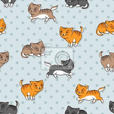 Jednolite wzór z zabawnymi kotami. Ilustracji wektorowych.