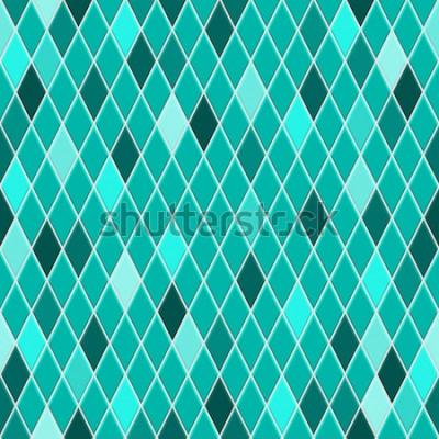 Naklejka Jednolity wzór małych rombów w turkusowych kolorach z niektórymi kolorowymi rombami