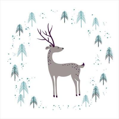 Naklejka Jeleń w lesie zima sosny na białym tle.