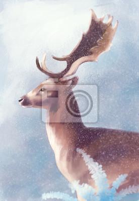 Jeleń w zimie