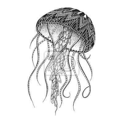 Naklejka Jellyfish wzorowany. Projekt tatuażu. Może służyć do zaprojektowania t-shirtu, torby, pocztówki, plakatu i tak dalej.