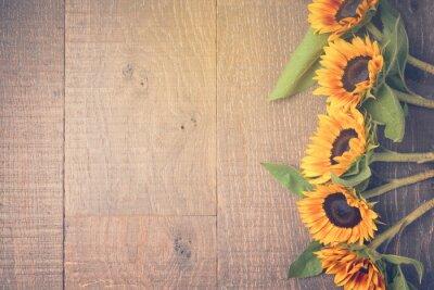 Naklejka Jesienią tła z słoneczniki. Widok z góry. Filtr Retro Efekt