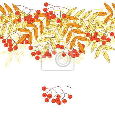 Jesienne bezszwowe tło z jarzębiny i liści.