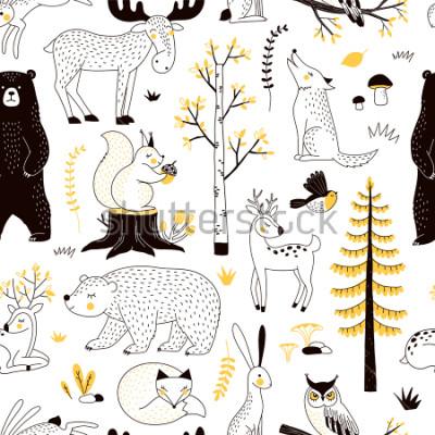 Naklejka jesienny wzór lasu