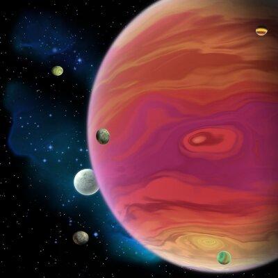 Naklejka Jowisz planeta - Jowisz jest największy gazowy gigant planety w naszym Układzie Słonecznym z 67 księżyców i ma duży czerwona plama wir poniżej równika.