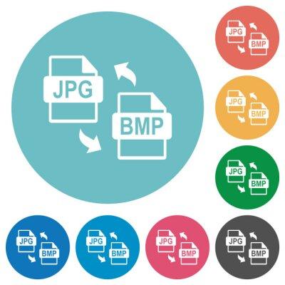 Naklejka JPG BMP file conversion flat round icons