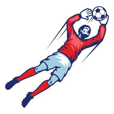 jumping soccer goalkeeper catching ball