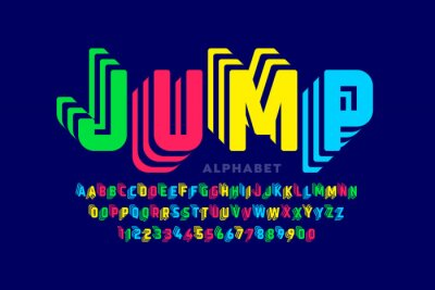 Naklejka Jumping style font design, alphabet letters and numbers