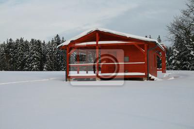 Kabina na polanie zaangażowania świeżym śniegu
