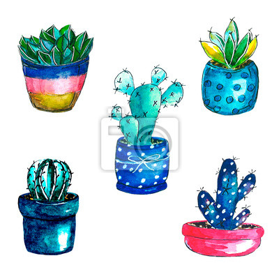 Kaktusy Warercolor