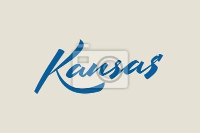 Kansas City USA Państwo Słowo Logo Nazwa Ręcznie malowane Szczotka Szablon Logo Kaligrafii