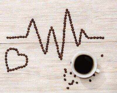 Naklejka kardiogram i serce określonymi ziaren kawy z filiżanki kawy
