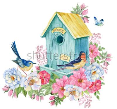 Naklejka Karmnik, jaskółka i niebieski ptak, motyl. Akwarele ilustracji karty wiosny