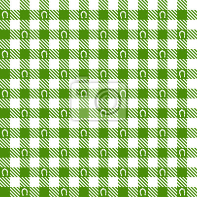 Karo Muster Grün mit Hufeisen - endlos