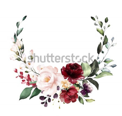 Naklejka Karta. Akwarela projekt zaproszenia z bordowymi i czerwonymi różami, liśćmi. kwiat, tło z kwiatowymi elementami, botaniczna akwarela ilustracja. Szablon Vintage. wieniec, okrągła rama