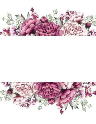 Naklejka Karta, Akwarela ślubu projekt zaproszenie z różowy, fioletowy piwonii, Pączek, małych kwiatów i liści. Ręcznie malowany kwiatowy tło dla tekstu. Szablon. Rama.