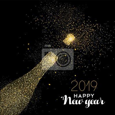 Karta Nowego Roku 2019 napój złoty brokat kurz