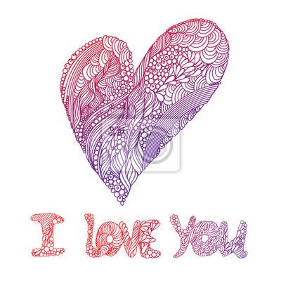 Karta szczęśliwy Walentynki ornamentami i serca