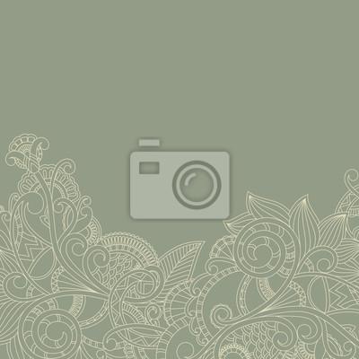 Karta z pozdrowieniami z paisley wzorkiem. Kwiatowy wzór
