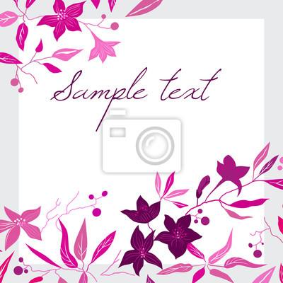 Karta z różowymi liśćmi i kwiatami