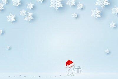 Kartka świąteczna z papierowymi płatkami śniegu. Święty Mikołaj i prezenta pudełko na śnieżnym błękitnym tle. Koncepcja wektor Boże Narodzenie, nowy rok lub zima.