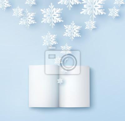 Kartka świąteczna z płatkami śniegu papieru. Otwórz pustą książkę i latające płatki śniegu na niebieskim tle. Wektor xmas, nowy rok lub zima koncepcja.