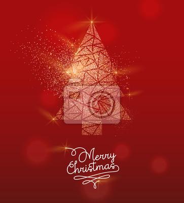 Kartkę z życzeniami sosna złoty brokat Boże Narodzenie