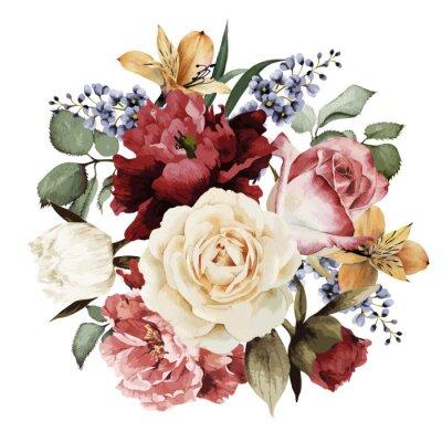 Naklejka Kartkę z życzeniami z róż, akwareli, może być używany jako zaproszenie