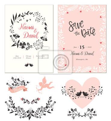 Kartki ślubne z projektem typograficznym, kształt serca, ptaki, puchar, ozdobne ramki i ozdobną wieniecką kwiatową. Ilustracji wektorowych.