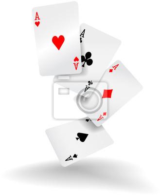 Naklejka Karty do gry cztery asy w pokera rękę