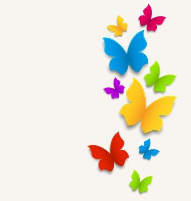 Naklejka Karty Wiosna z motyli, kolorowe skład