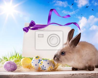 Karty z pozdrowieniami Wielkanoc z Easter bunny i easter eggs