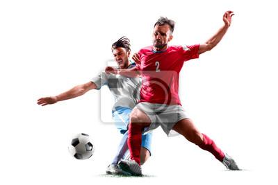 Naklejka kaukaski piłkarzy na białym tle