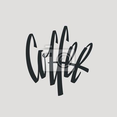 Kawa Etykieta Słowo Logo Nazwa Ręcznie malowane Szczotka Szablon Calligraphy
