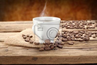 Naklejka kawa na stole