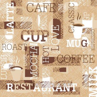 Naklejka Kawa Temat Bez szwu deseń. Słowa, filiżanki kawy i twórcze doodle. Beżowa i brązowa gama kolorów. Abstrakcyjne tło dla kawiarni lub restauracja marki projektu.
