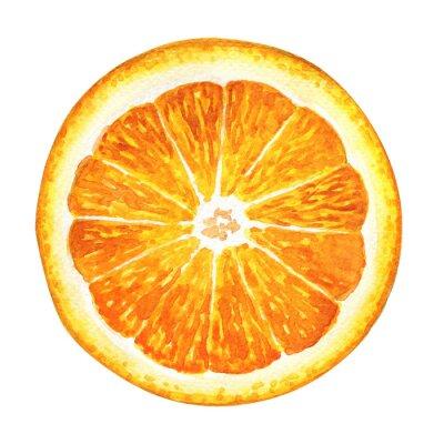 Naklejka Kawałek świeżej pomarańczy na białym tle