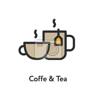 Kawy kubek herbaty kubek gorący śniadanie kolor minimalistyczny linia płaskiej zarys ikona kreski