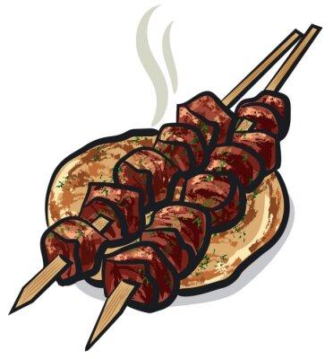 Naklejka kebab mięso